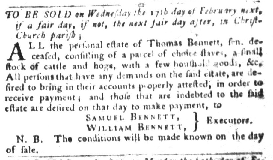 Jan 26 - South-Carolina Gazette and Country Journal Slavery 7