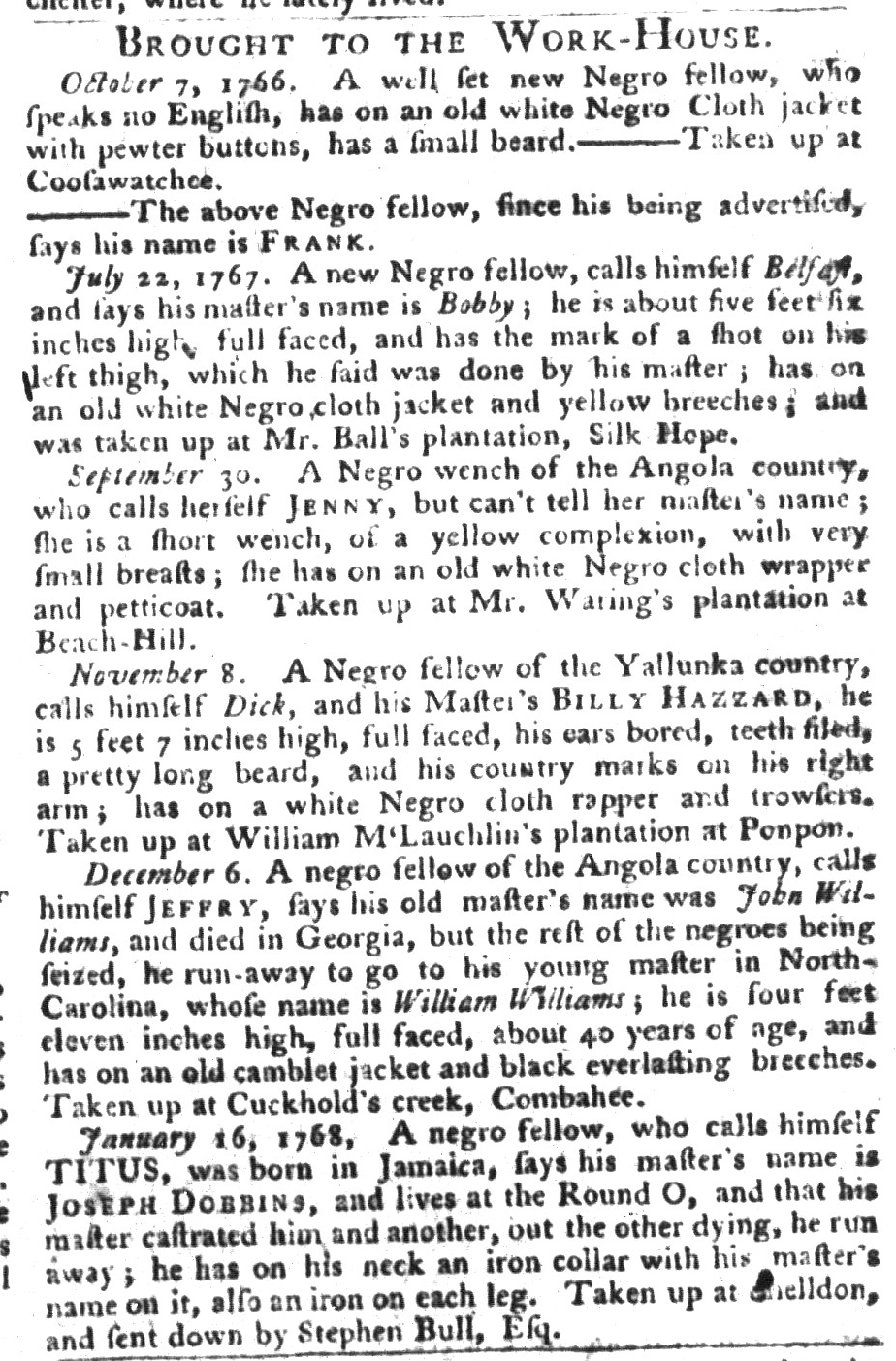 Jan 26 - South-Carolina Gazette and Country Journal Supplement Slavery 9