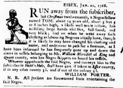 Jan 28 - Virginia Gazette Purdie and Dixon Slavery 3
