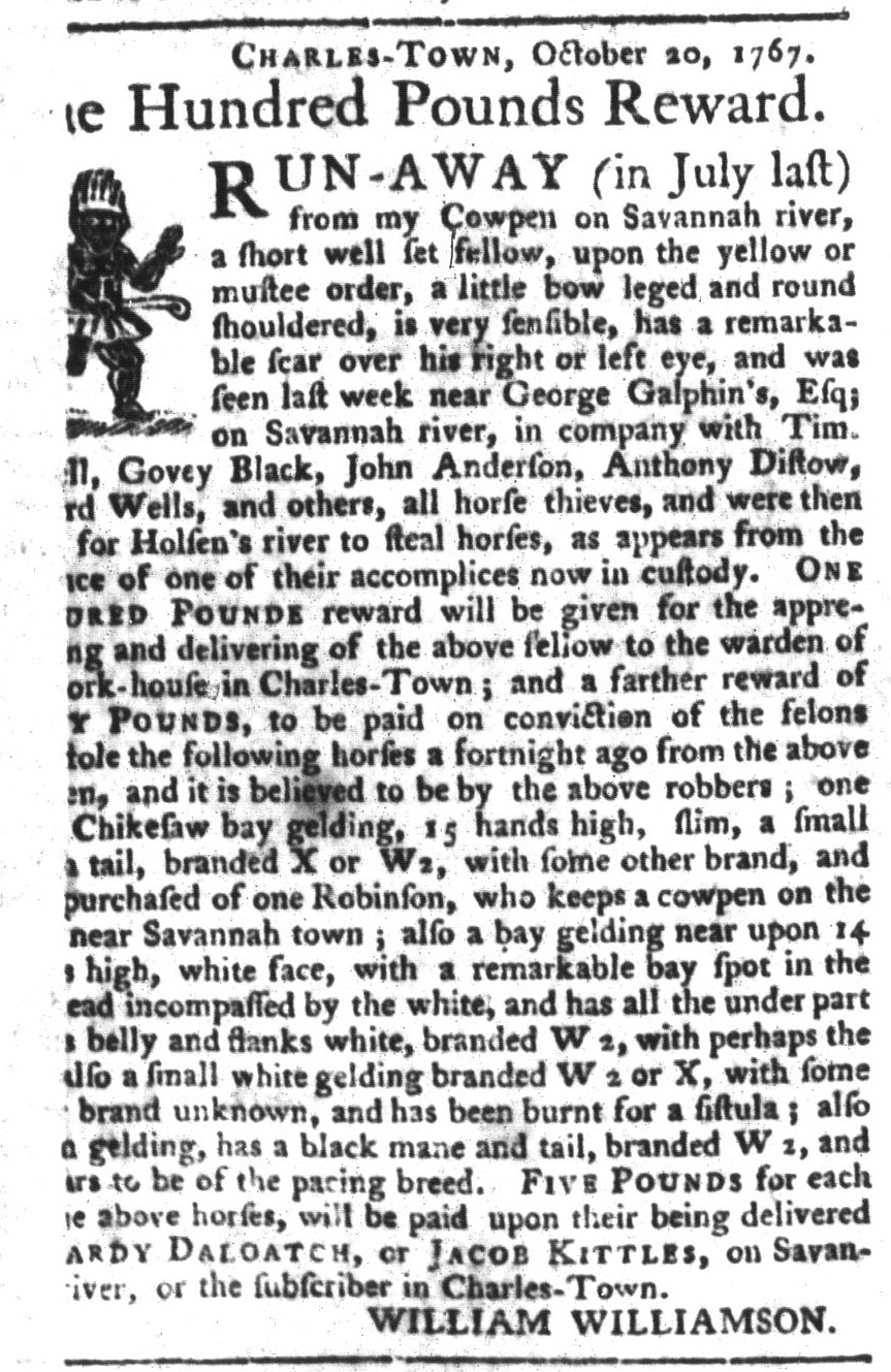Jan 5 - South-Carolina Gazette and Country Journal Slavery 1