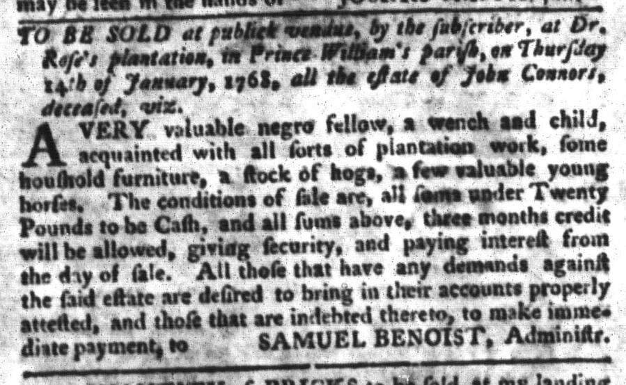 Jan 5 - South-Carolina Gazette and Country Journal Slavery 11