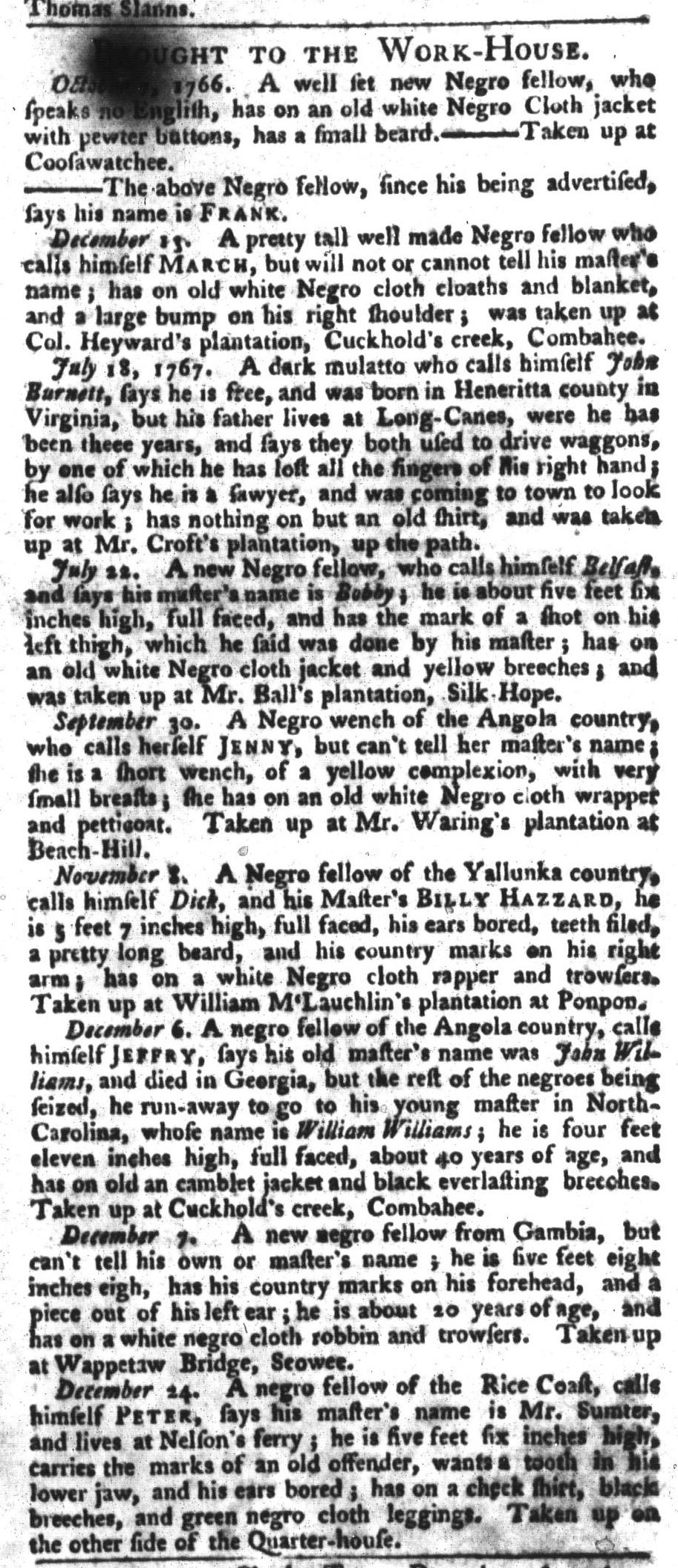 Jan 5 - South-Carolina Gazette and Country Journal Slavery 13