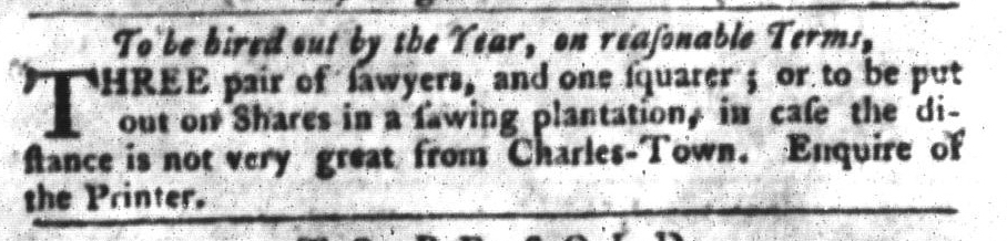 Jan 5 - South-Carolina Gazette and Country Journal Slavery 8
