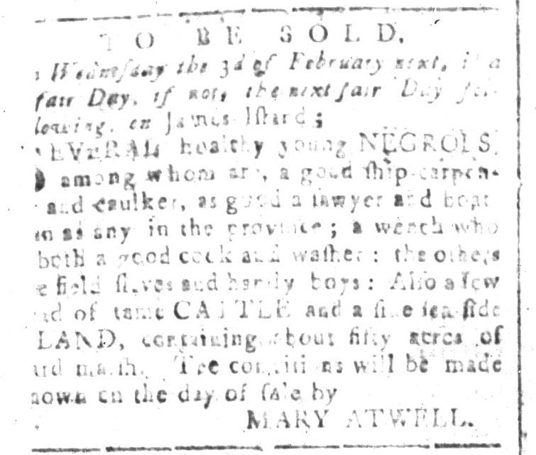 Jan 8 - South-Carolina and American General Gazette Slavery 3