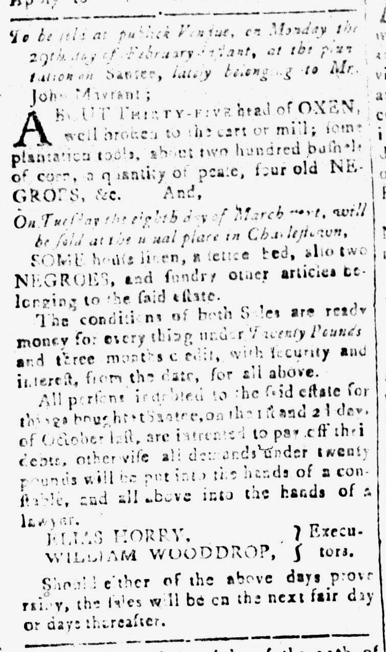 Feb 12 - South-Carolina and American General Gazette Slavery 11
