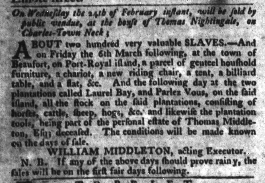 Feb 16 - South-Carolina Gazette and Country Journal Supplement Slavery 3
