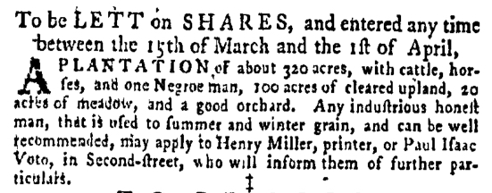 Feb 18 - Pennsylvania Gazette Supplement Slavery 1