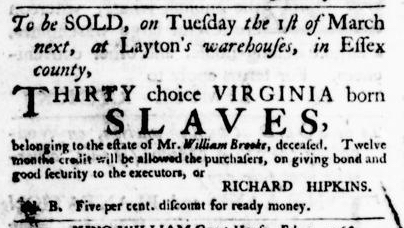 Feb 18 - Virginia Gazette Purdie and Dixon Slavery 5