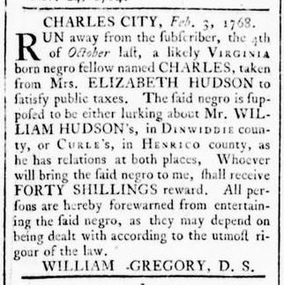Feb 18 - Virginia Gazette Rind Slavery 1