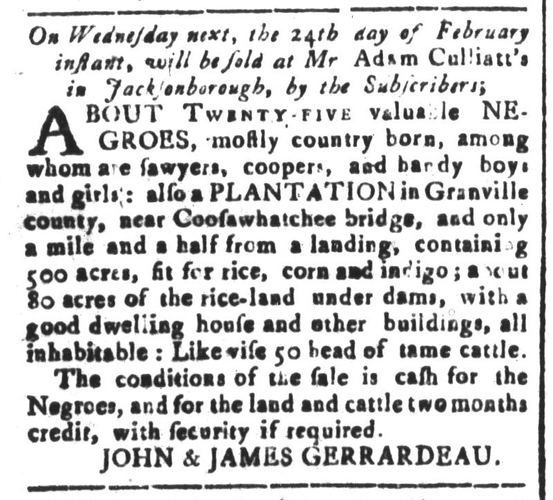 Feb 19 - South-Carolina and American General Gazette Slavery 4