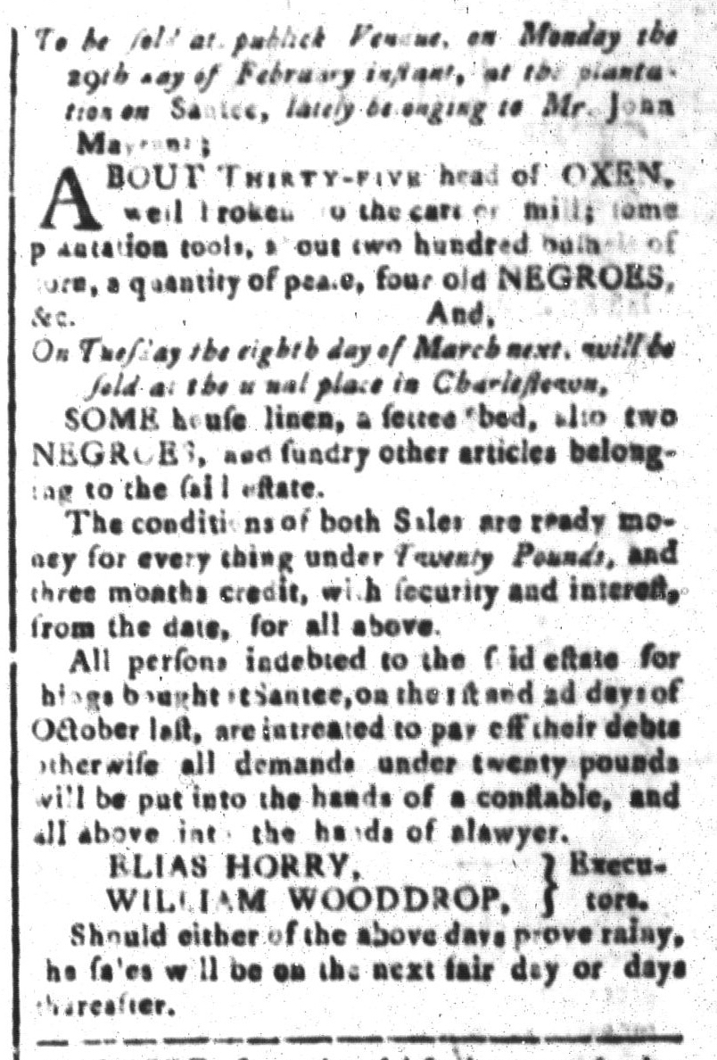 Feb 19 - South-Carolina and American General Gazette Slavery 6