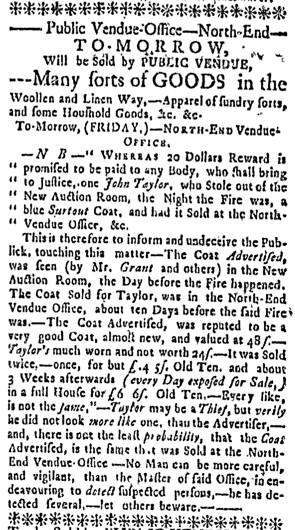 Feb 21 - 2:18:1768 Massachusetts Gazette
