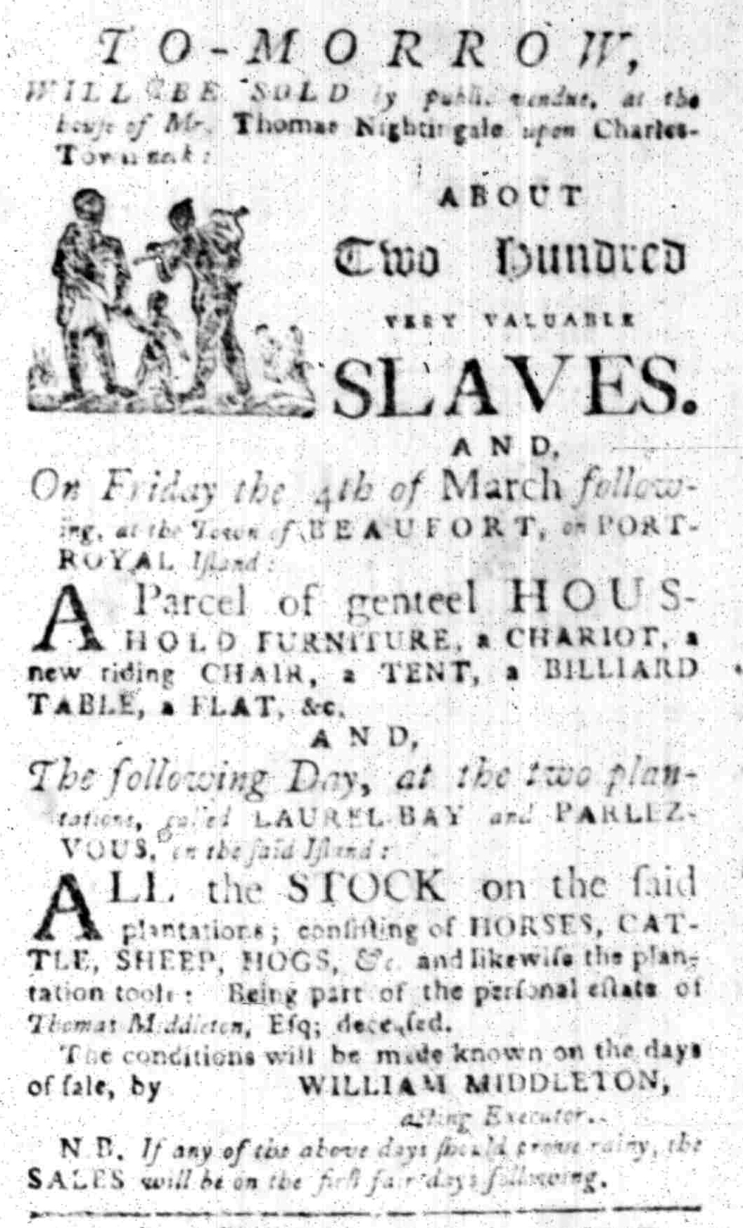 Feb 22 - South Carolina Gazette Slavery 1