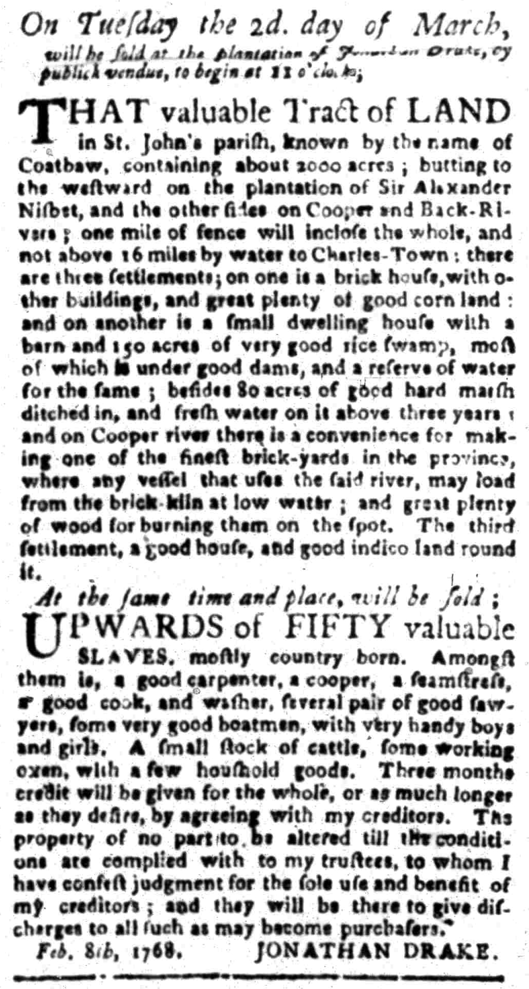 Feb 22 - South Carolina Gazette Slavery 13