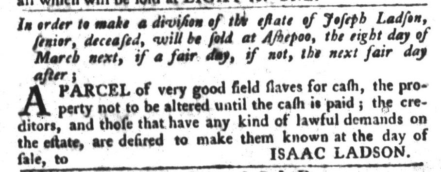 Feb 23 - South-Carolina Gazette and Country Journal Slavery 13