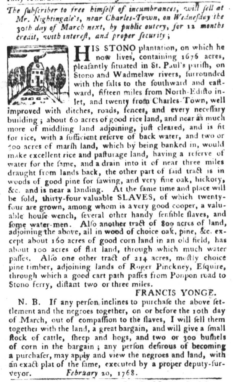 Feb 23 - South-Carolina Gazette and Country Journal Slavery 6