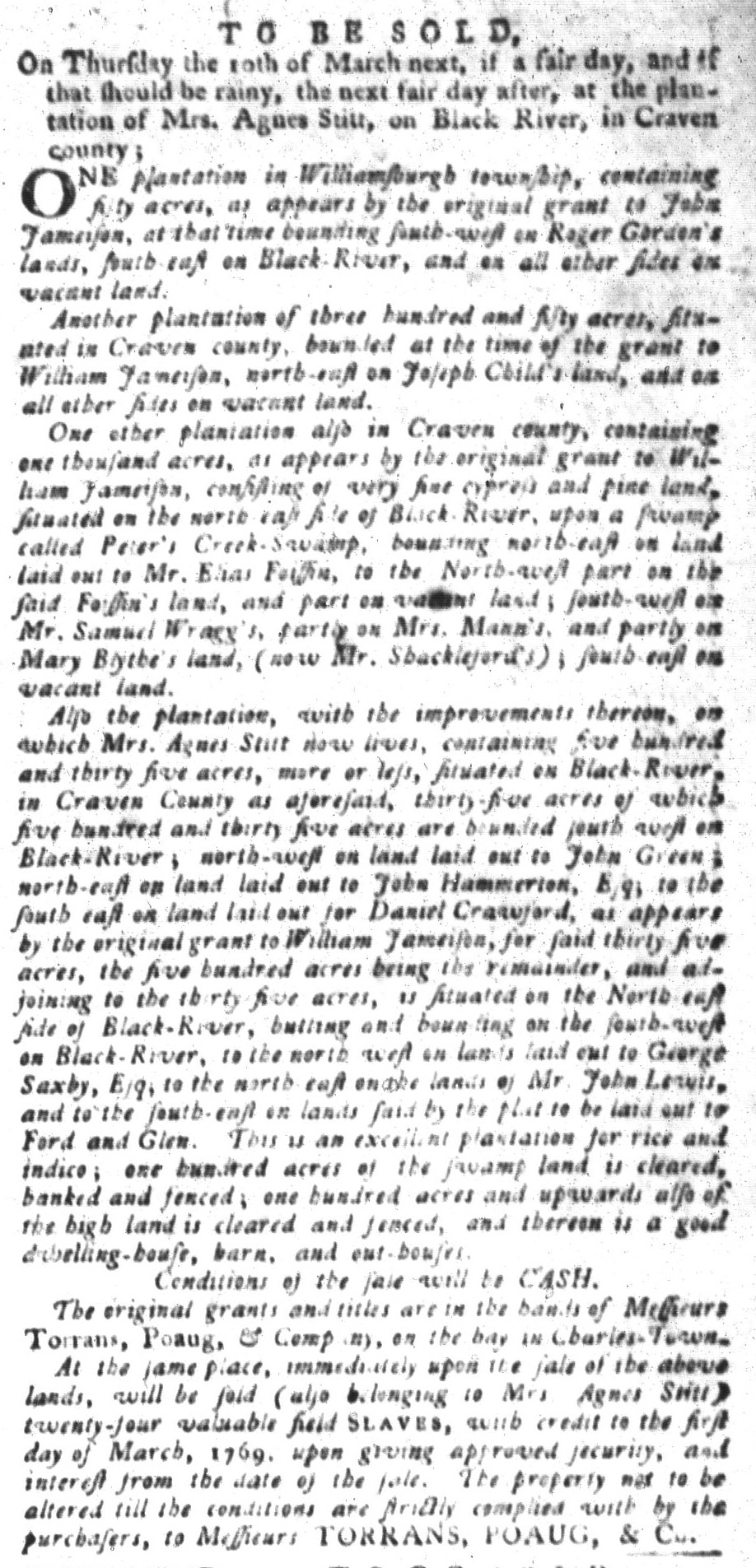 Feb 23 - South-Carolina Gazette and Country Journal Slavery 8