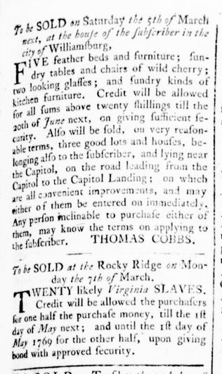 Feb 25 - Virginia Gazette Rind Slavery 1