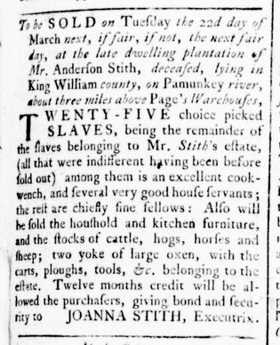 Feb 25 - Virginia Gazette Rind Slavery 2