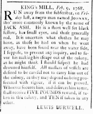 Feb 25 - Virginia Gazette Rind Slavery 3