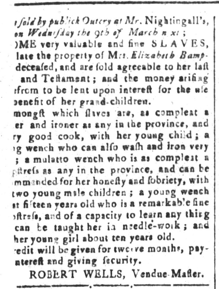 Feb 26 - South-Carolina and American General Gazette Slavery 1