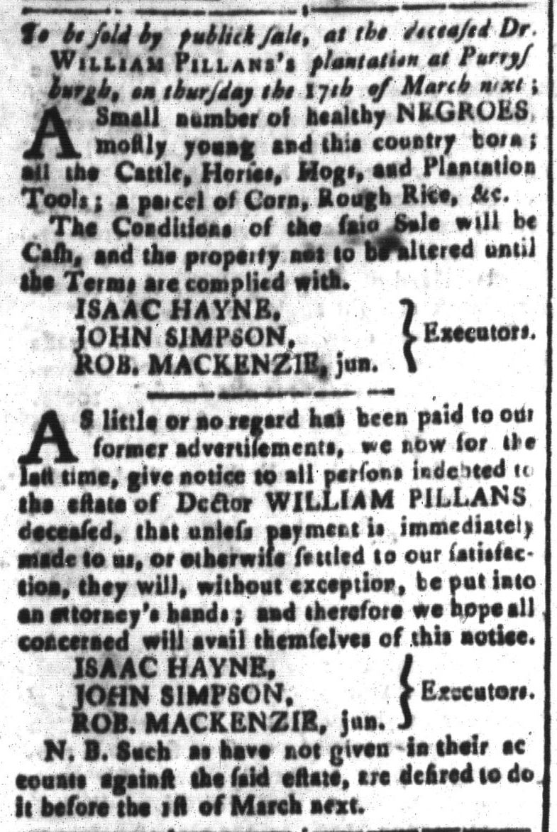 Feb 26 - South-Carolina and American General Gazette Slavery 7