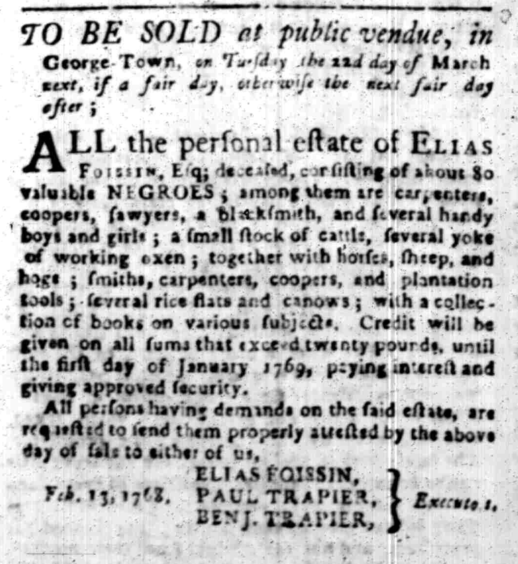 Feb 29 - South Carolina Gazette Slavery 1