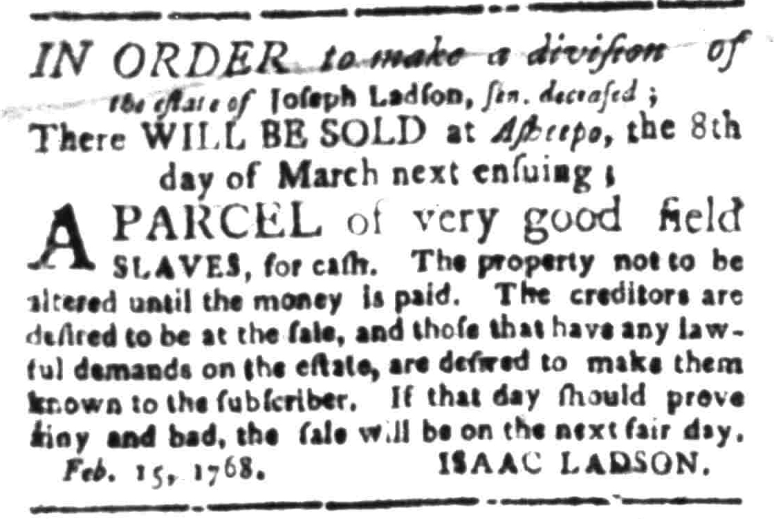Feb 29 - South Carolina Gazette Supplement Slavery 1
