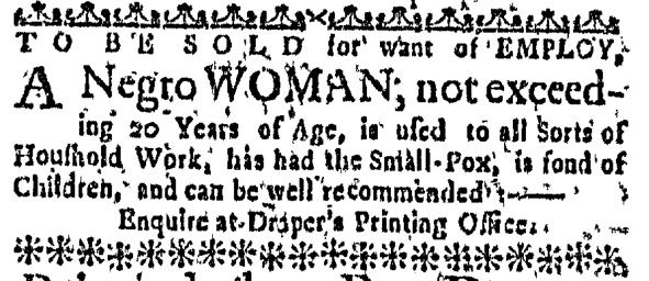 Mar 3 - Massachusetts Gazette Slavery 1