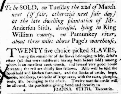 Mar 3 - Virginia Gazette Purdie and Dixon Slavery 5