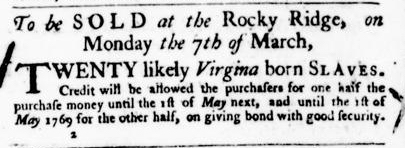 Mar 3 - Virginia Gazette Purdie and Dixon Slavery 6