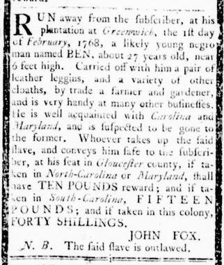 Mar 3 - Virginia Gazette Rind Slavery 3