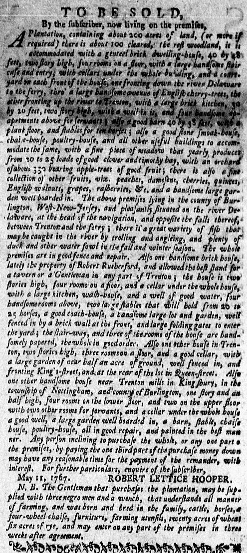 Mar 7 - New-York Gazette Weekly Mercury Supplement Slavery 1