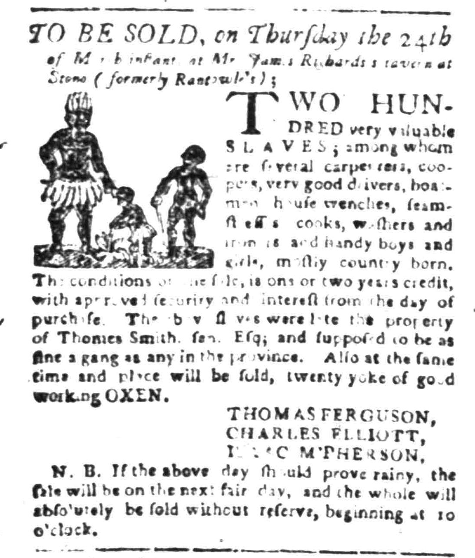 Mar 7 - South Carolina Gazette Slavery 1