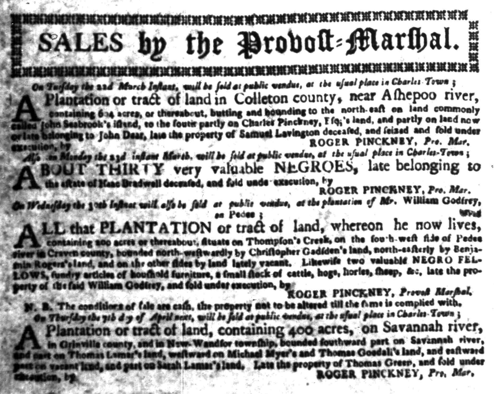 Mar 7 - South Carolina Gazette Slavery 3