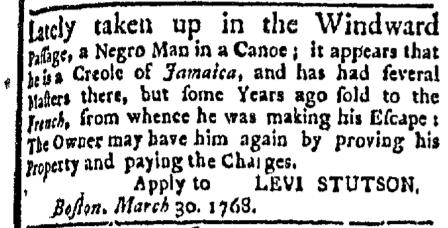 Apr 4 - Boston Evening-Post Slavery 1