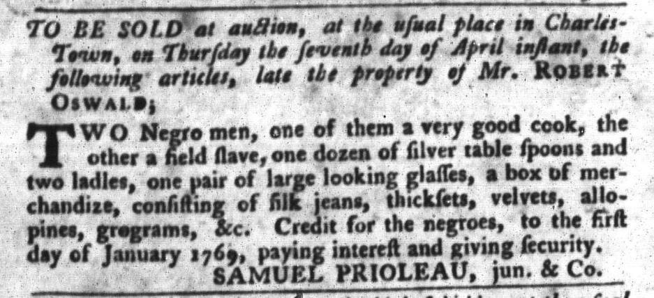 Apr 5 - South-Carolina Gazette and Country Journal Slavery 1