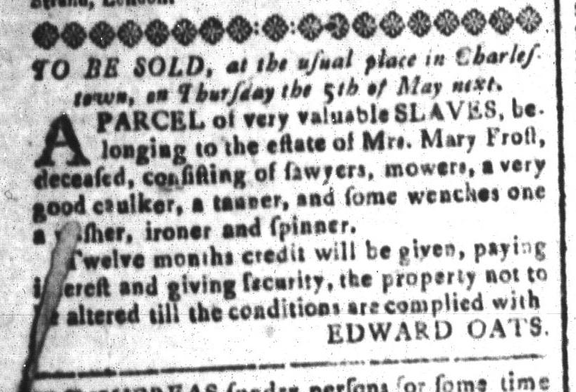 Apr 8 - South-Carolina and American General Gazette Slavery 4