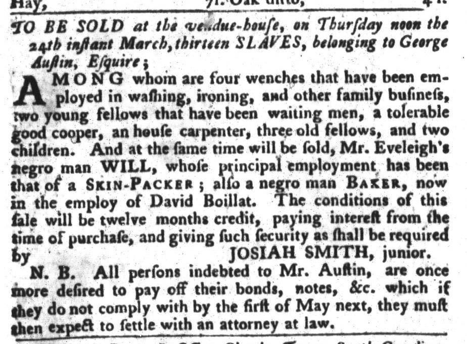 Mar 15 - South-Carolina Gazette and Country Journal Slavery 1