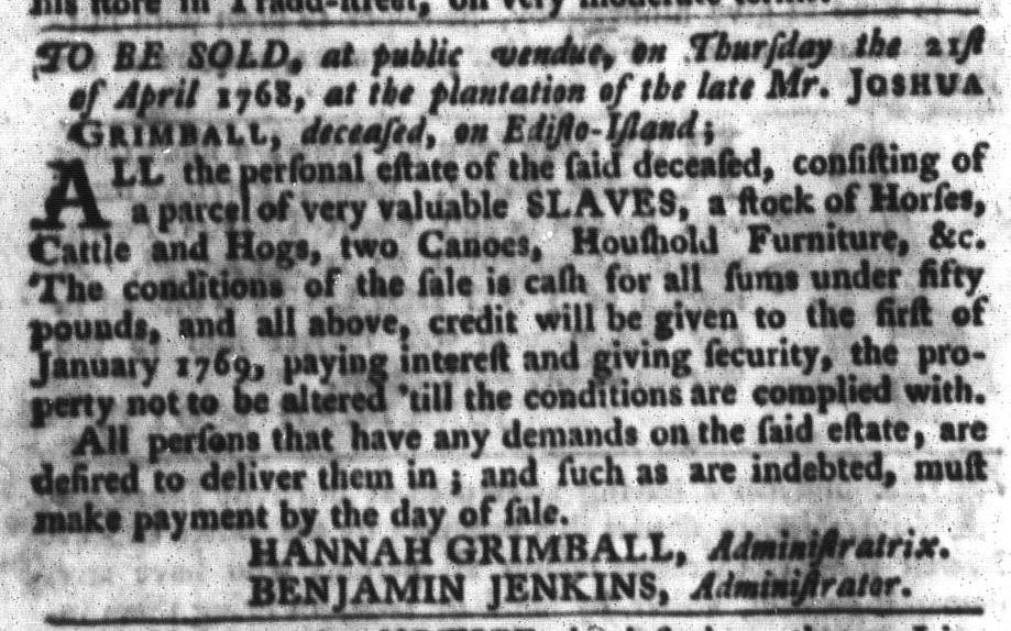 Mar 15 - South-Carolina Gazette and Country Journal Slavery 6