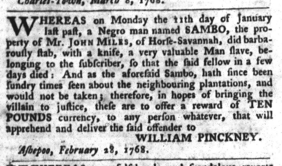 Mar 15 - South-Carolina Gazette and Country Journal Slavery 7