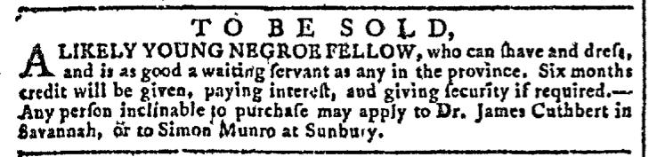 Mar 16 - Georgia Gazette Slavery 1