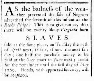 Mar 17 - Virginia Gazette Rind Slavery 1