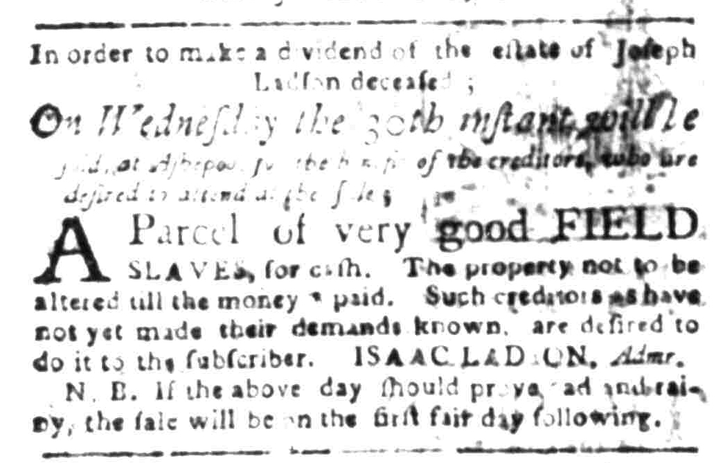 Mar 21 - South Carolina Gazette Slavery 2