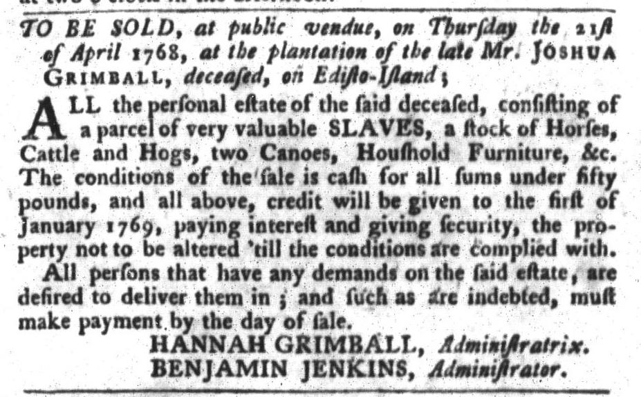 Mar 22 - South-Carolina Gazette and Country Journal Slavery 5