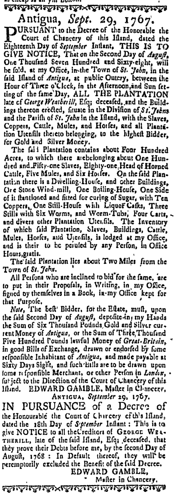 Mar 24 - Massachusetts Gazette Supplement Slavery 1
