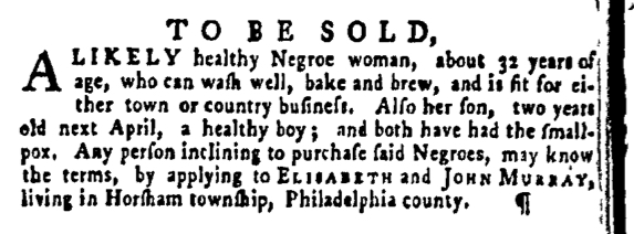 Mar 24 - Pennsylvania Gazette Supplement Slavery 1