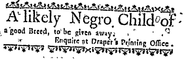 Mar 31 - Massachusetts Gazette Supplement Slavery 1