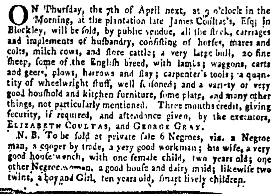 Mar 31 - Pennsylvania Gazette Supplement Slavery 1