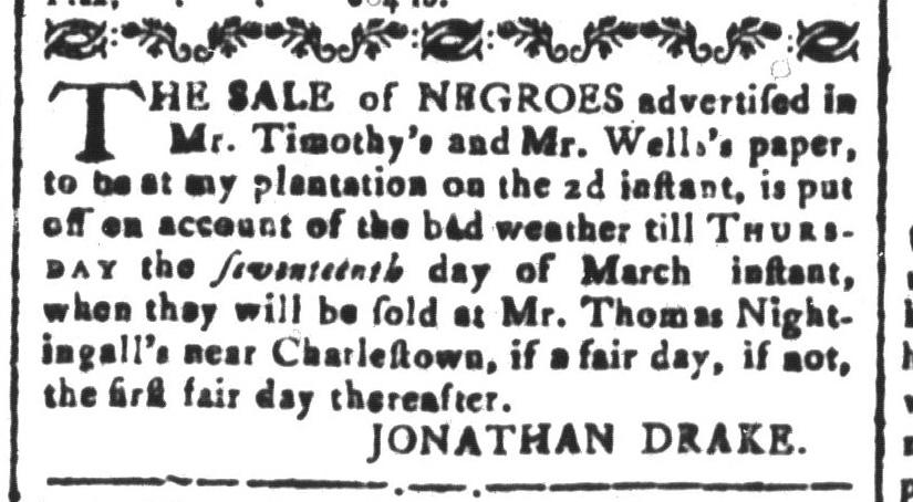 Mar 4 - South-Carolina and American General Gazette Slavery 1